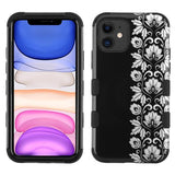 Case - MYBAT Silver Floral Stripe/Black TUFF Hybrid Guaranteed Drop Protective Case For IPhone 11