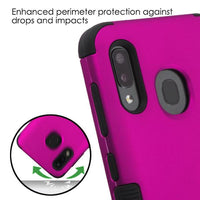 Case - MYBAT Titanium Solid Hot Pink/Black TUFF Hybrid Guaranteed Drop Protective Case For Samsung Galaxy A20