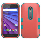 Case - MYBAT TUFF Hybrid Phone Protective Case (Baby Red/Tropical Teal)  For Motorola Moto G (3rd Gen.)