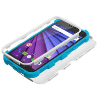 Case - MYBAT TUFF Hybrid Phone Protective Case (Ivory White/Tropical Teal) For Motorola Moto G (3rd Gen.)