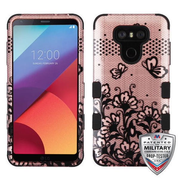 Case - MYBAT TUFF Hybrid Phone Protective Case - Military Drop Test Certified (Black Lace Flowers (2D Rose Gold)/Black) For LG G6
