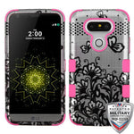 Case - MYBAT TUFF Hybrid Phone Protective Case - Military Drop Test Certified (Black Lace Flowers (2D Silver)/Electric Pink) For LG G5