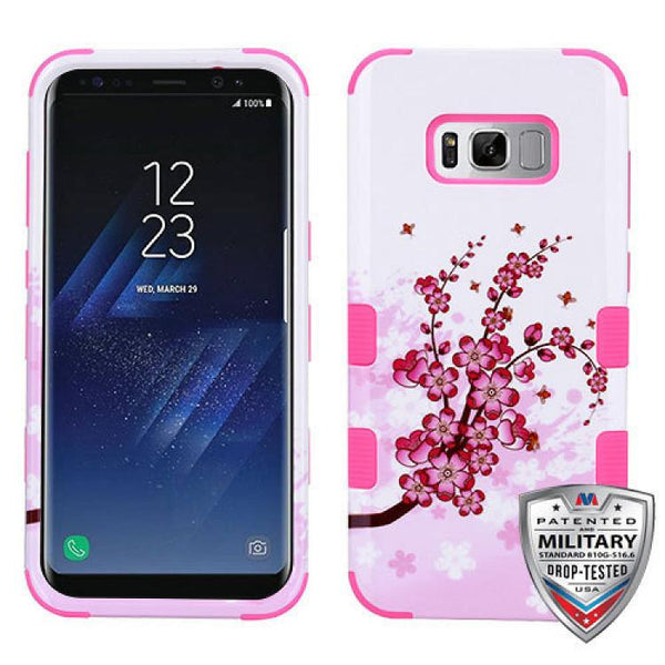 Case - MYBAT TUFF Hybrid Phone Protective Case - Military Drop Test Certified (Spring Flowers/Electric Pink) For Samsung Galaxy S8 Plus