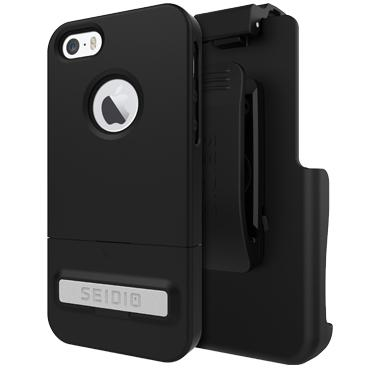 Case - Seidio (Black) SURFACE (New) With Metal Kickstand Combo Case For IPhone 5, IPhone 5S, IPhone SE