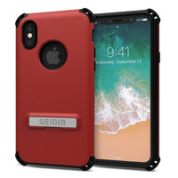 Case - Seidio Dilex Case (with Metal Kickstand) (Dark Red/Black) For IPhone X, IPhone Xs