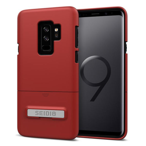 Case - Seidio Surface Case (with Metal Kickstand) (Dark Red/Black) (Lifetime Warranty By Seidio) For Samsung Galaxy S9 Plus
