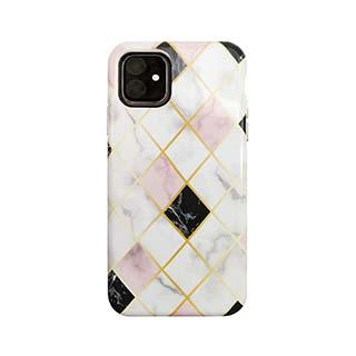 Case - Uunique White/Rose Gold (Diamond Marble) Nutrisiti Eco Printed Marble Back Case For IPhone 11