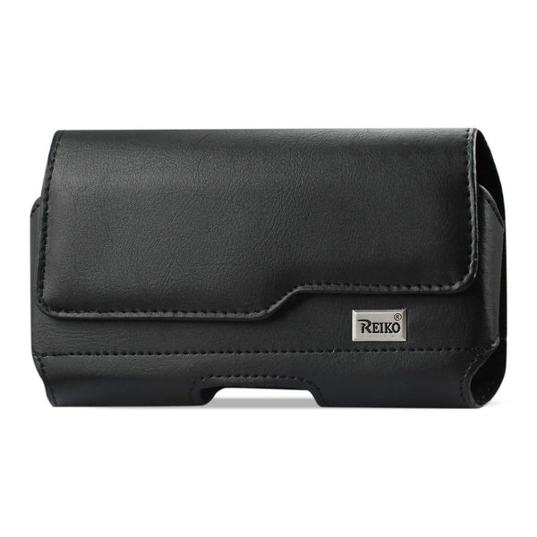 Holster - Reiko Horizontal Leather Holster With Metal Belt Clip (6.6 X 3.5 X 0.7 Inches) (Black)