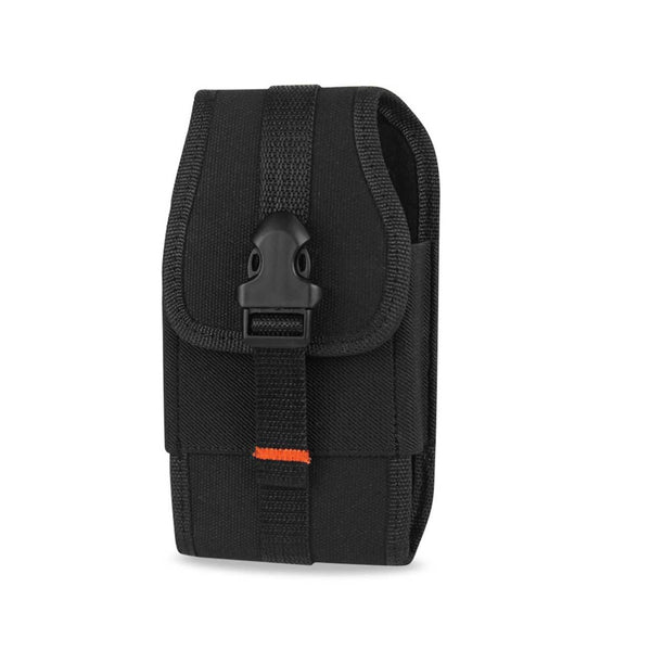 Holster - Reiko Vertical Rugged Pouch With Velcro And  Belt Clip (6.4X3.5X0.7 Inches) (Black)