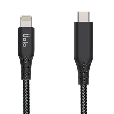 Lightning - Uolo Black/Grey Link 2m Braided USB Type-C To Lightning Charge & Sync Cable (Apple Certified)