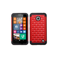 Mobi Products TotalDefense Protective Case (Red/Black Luxurious Lattice Dazzling) For Nokia Lumia 635, Lumia 630