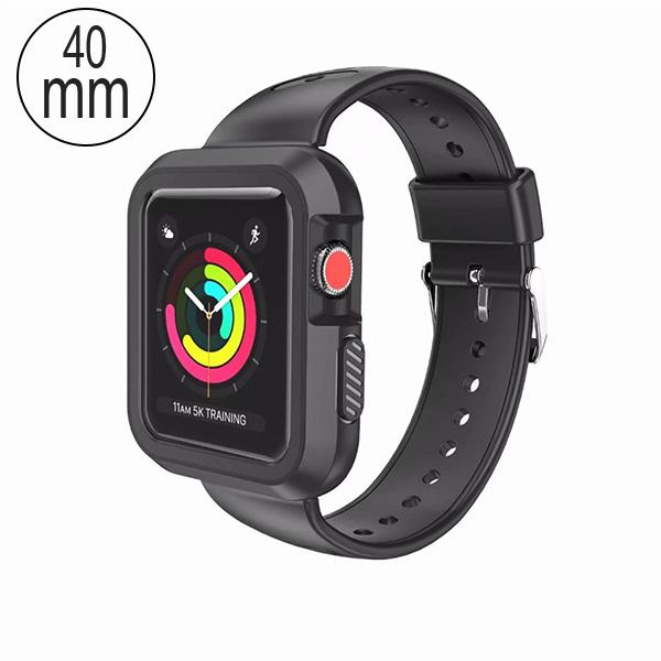 MYBAT Black/Black Silicone Sport Watchband With Case For APPLE Watch Series 5 40mm