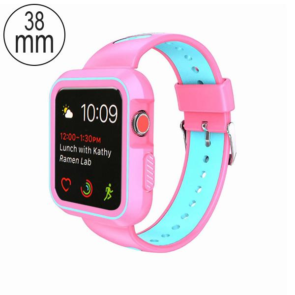 MYBAT Electric Pink/Teal Green Silicone Sport Watchband With Case For APPLE Watch Series 5 40mm