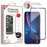 Screen Protector - MYBAT (Black) 3D Carbon Fiber Full Coverage Soft Edge Tempered Glass Screen Protector For IPhone 11, IPhone XR