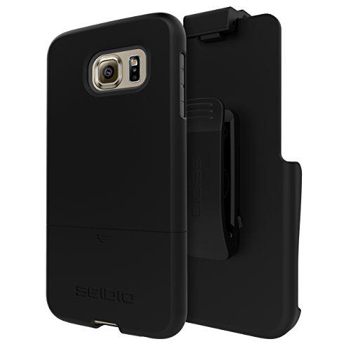 Seidio New Surface Case With Shock Absorbent Inner Layer And Holster Combo For Samsung Galaxy S6 - Black