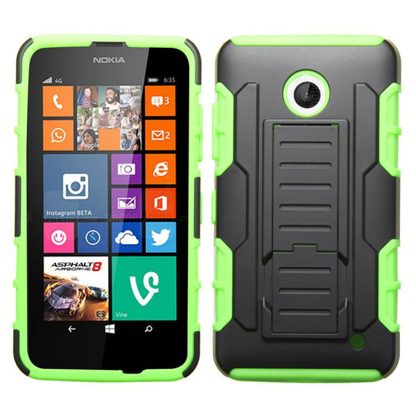 Smartphone Experts Dual Protection Armor Case (Black/Electric Green) For Nokia Lumia 635, Lumia 630