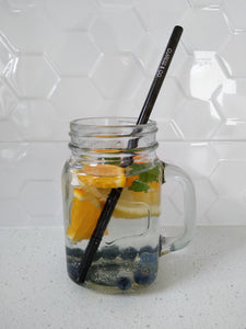 BLACK STAINLESS STEEL STRAW - STRAIGHT 8mm