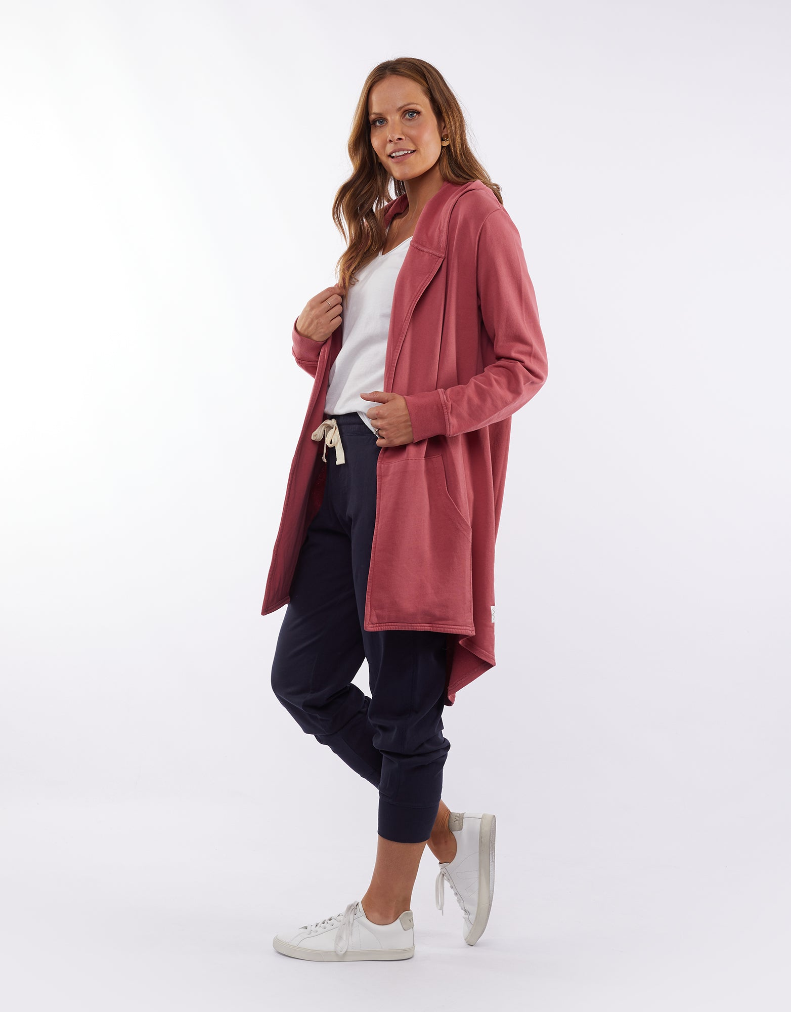 Elm Fundamentals Cardigan Composure Hooded Rose
