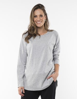 Elm Fundamentals Tee Long Sleeve Rib Grey Marle