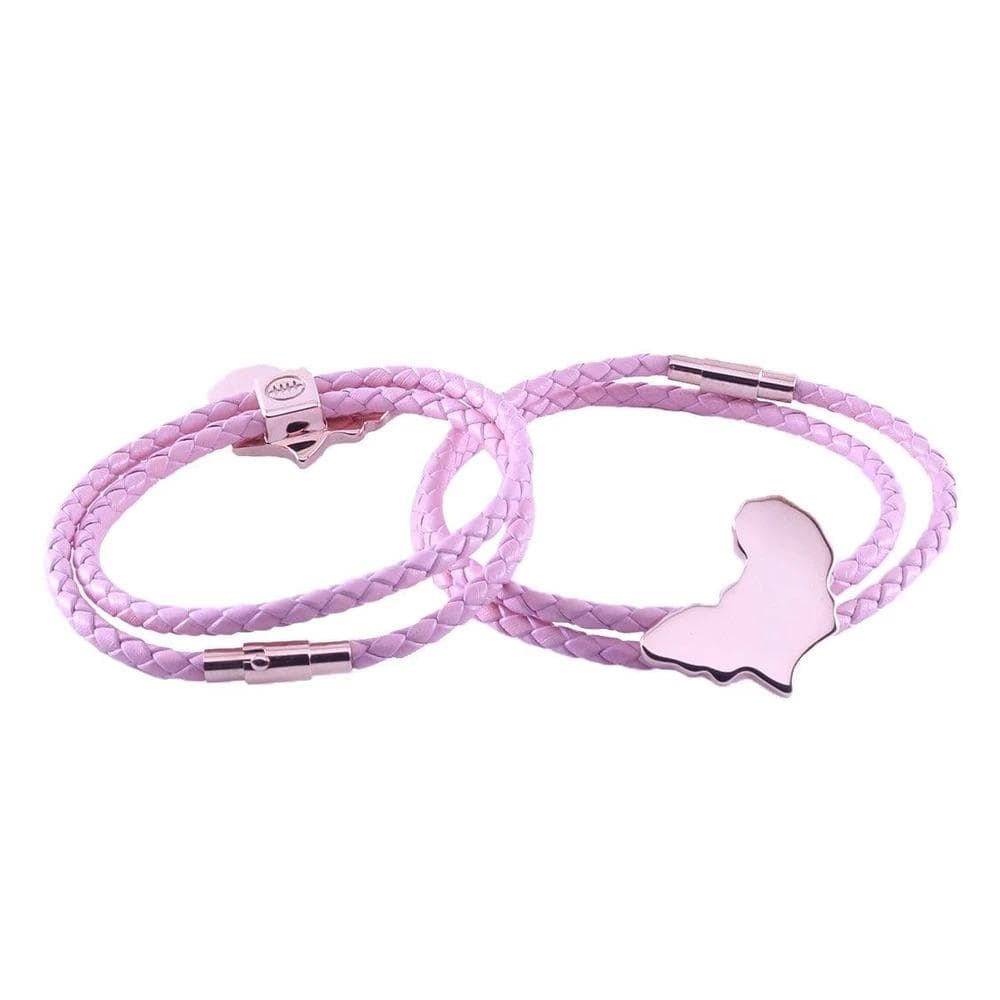 Breast cancer pink leather bracelet