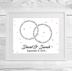 Personalised Ring Wedding Vows Framed Print