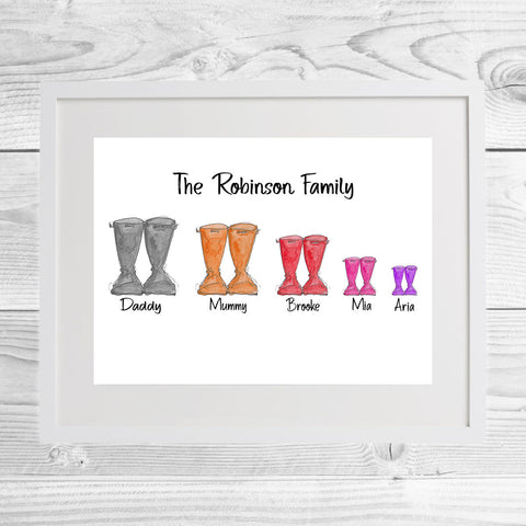 Personalised Welly Family Framed Print