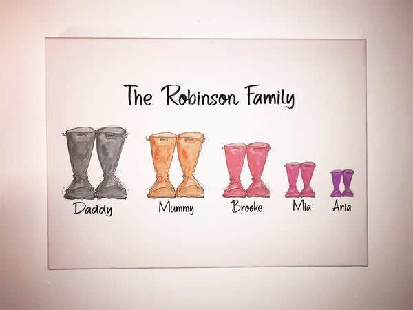 Personalised Welly Family Canvas Print