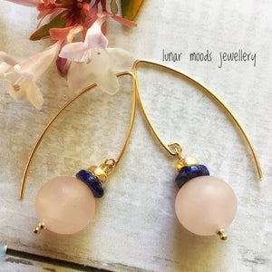Rose Quartz & Lapis Lazuli Gold Filled Earrings