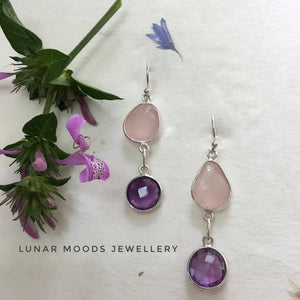 Amethyst & Rose Quartz Bezel Set Earrings