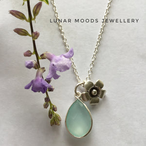Aqua Chalcedony & Silver Flower Charm on Silver Chain