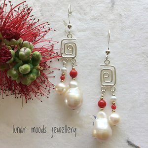 Coral & Pearl Dangle Earrings