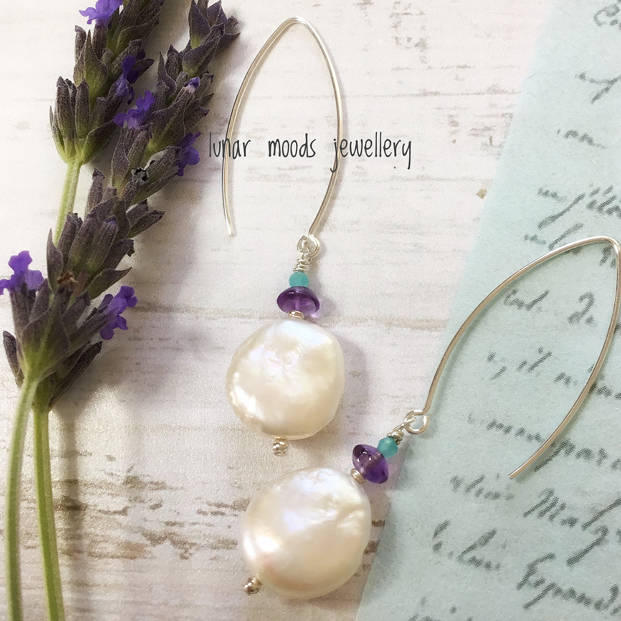 Freshwater Coin Pearl, Amethyst & Amazonite Earrings
