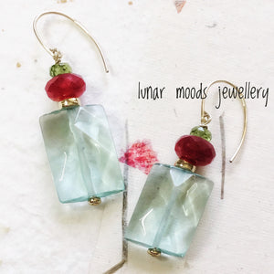 Aquamarine, Peridot & Red Onyx Earrings