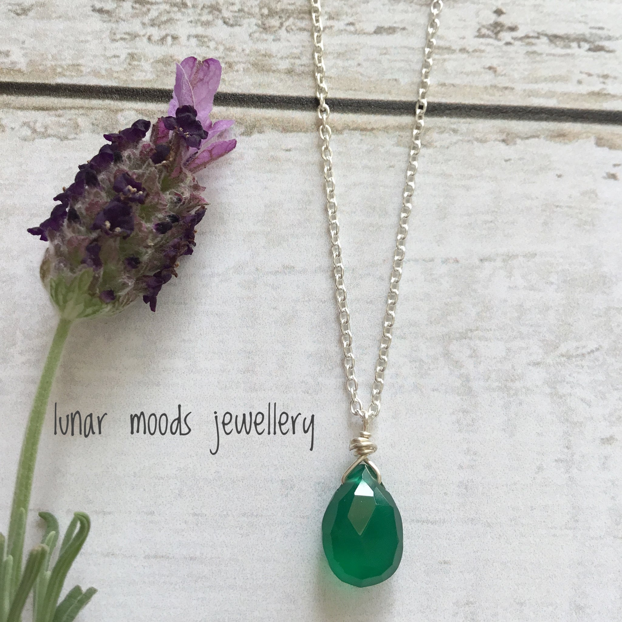 Green Onyx & Sterling Silver Pendant Necklace