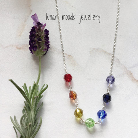 Swarovski Chakra Necklace on Sterling Silver Chain