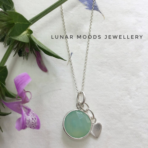 Aqua Chalcedony on Sterling Silver Chain