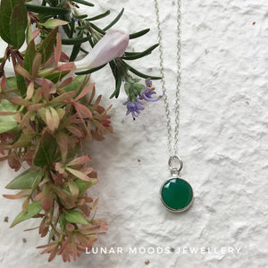 Green Onyx & Sterling Silver Chain
