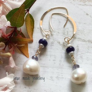 Pearl, Iolite & Sodalite Gold Filled Earrings