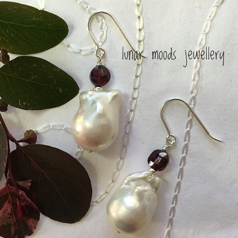 Baroque Freshwater Pearl & Garnet Earrings
