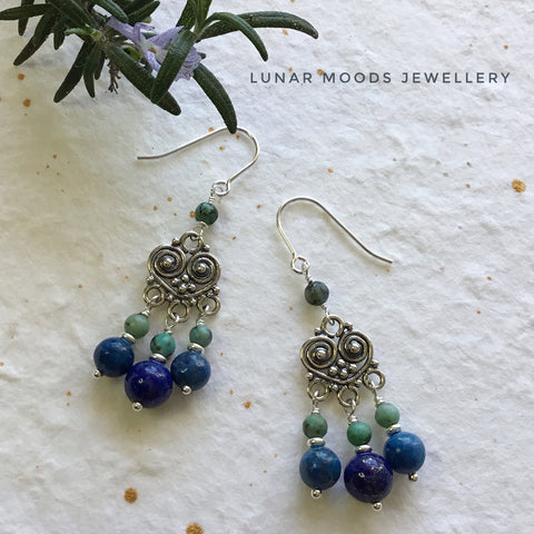 Lapis Lazuli & African Turquoise Earrings