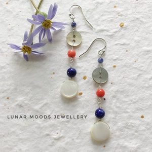 Mother of Pearl, Lapis Lazuli & Coral Earrings