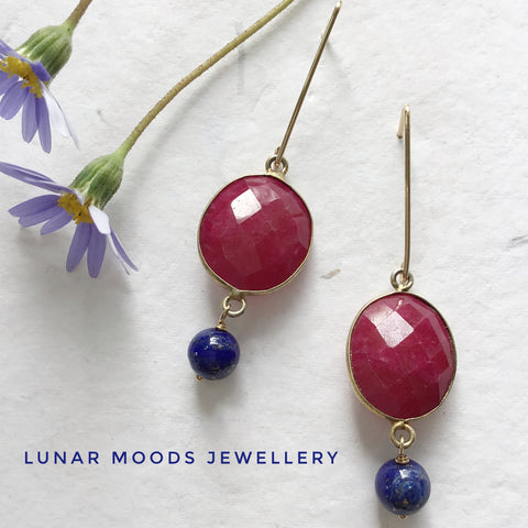 Ruby & Lapis Lazuli Gold Filled Earrings