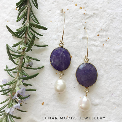 Sodalite & Pearl Gold Filled Earrings