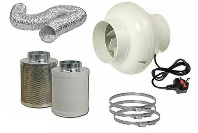 "4"" In Line Fan Carbon Filter & Duct Kit Hydroponic Grow Room Tent Ventilation"