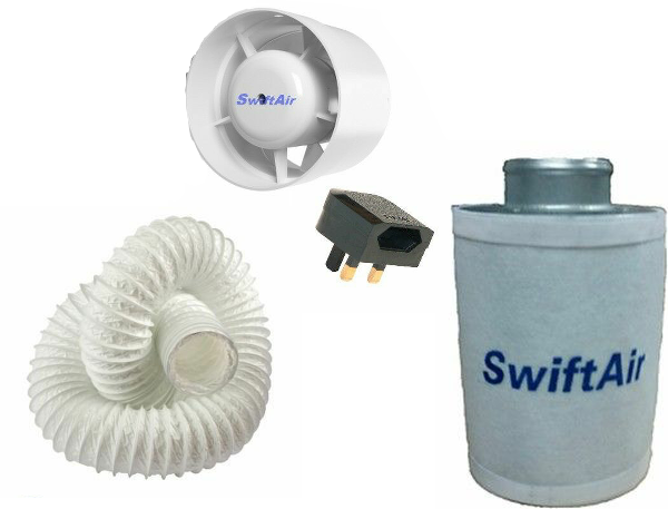 "4"" 100m3/hr In Line Fan Carbon Filter Duct Kit"