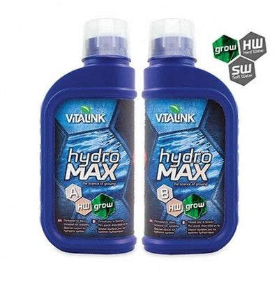 VITALINK Hydro Max Plant Nutrients Hydroponic GROWTH Feed A+B Hard or Soft Water