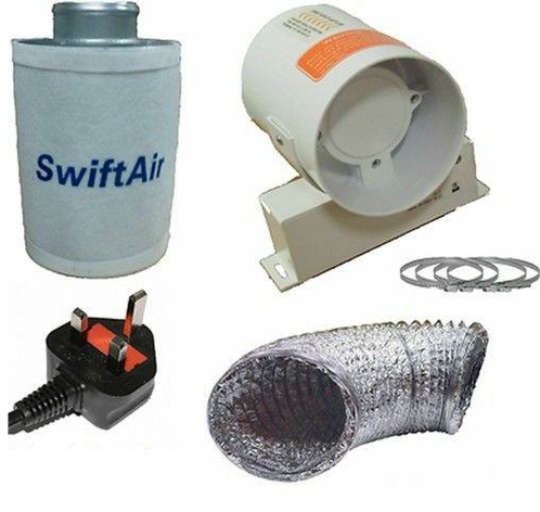 "4"" 5"" 6"" Carbon Filter InLine Fan Duct Kit"