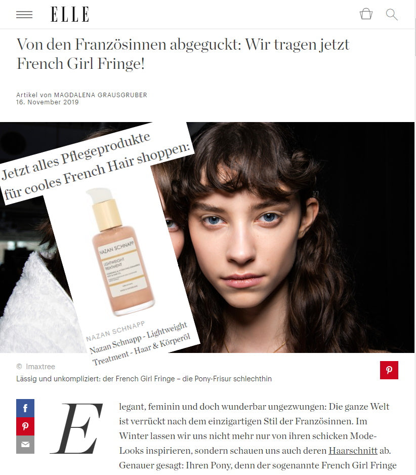 ELLE - FRENCH GIRL FRINGE WITH LIGHTWEIGHT TREATMENT SHIMMERING BODY & HAIR OIL