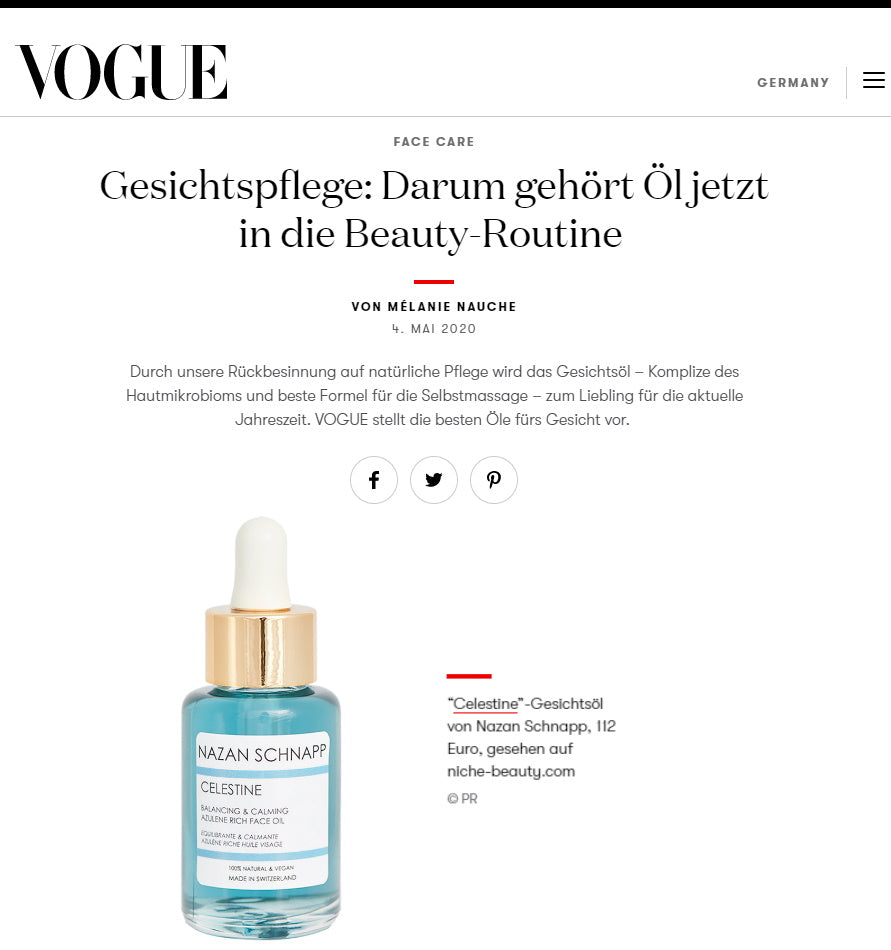 VOGUE GERMANY - CELESTINE AS BEAUTY-ROUTINE