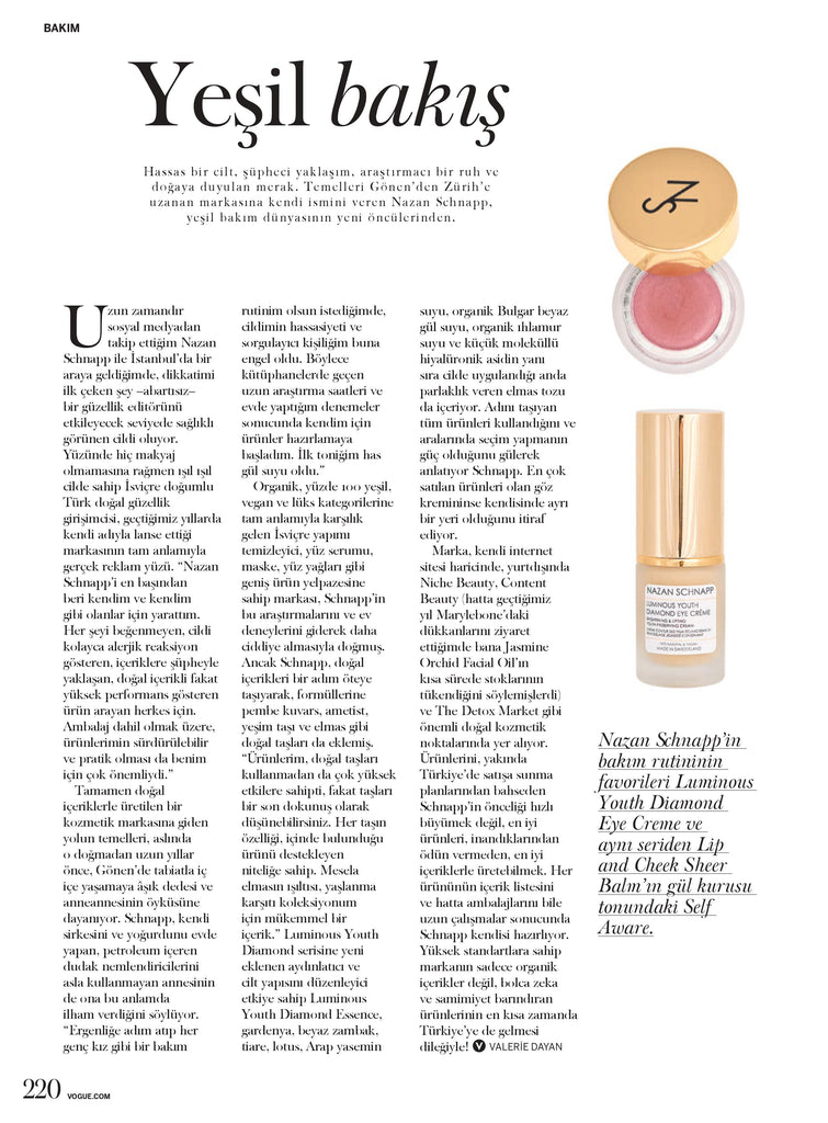NAZAN SCHNAPP article in Vogue Turkiye